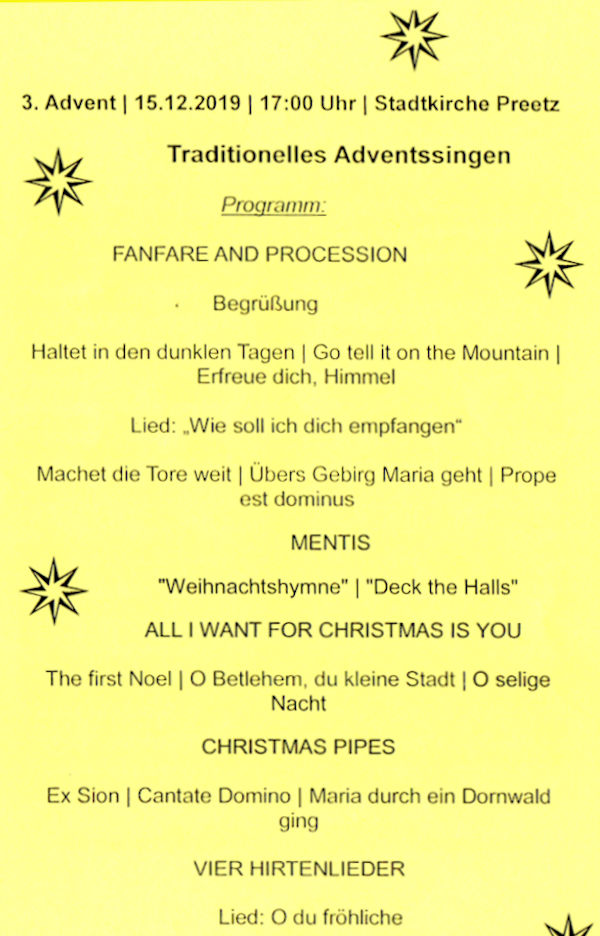 Programm für das Konzert in der Stadtkirche